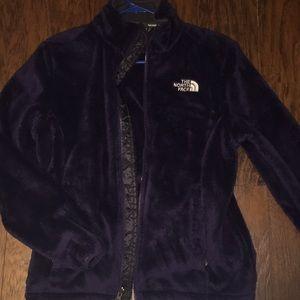 North face dark purple fuzzy jacket